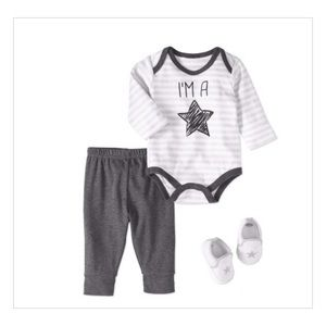 Baby Boy Bodysuit, 3pc Outfit Set, 3-6 Months